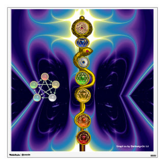 ROD OF ASCLEPIUS WITH 7 CHAKRAS ,SPIRITUAL ENERGY WALL GRAPHIC