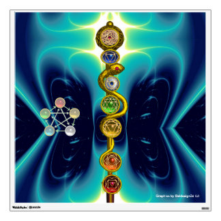 ROD OF ASCLEPIUS WITH 7 CHAKRAS ,SPIRITUAL ENERGY ROOM STICKERS