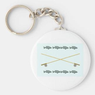 Rod Reel Fish Basic Round Button Keychain