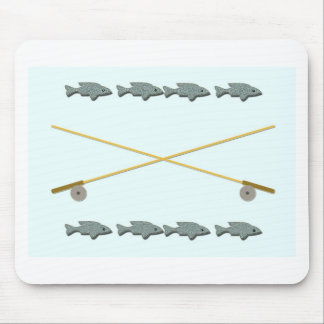 Rod Reel Fish Mouse Pad