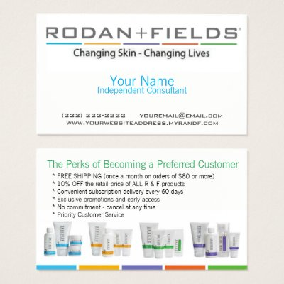 Rodan Fields Referral Punch Caard Business Card Zazzlecom - Rodan and fields business card template