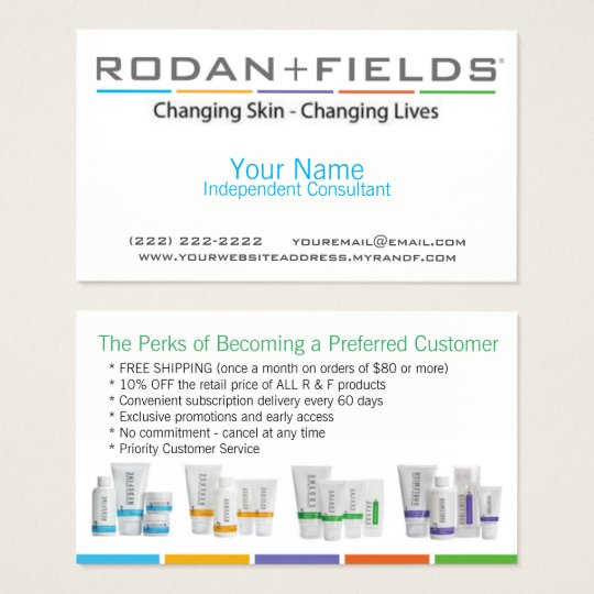 Rodan Fields Business Card Zazzlecom - Rodan and fields business card template
