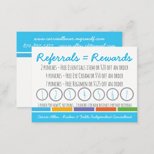 Rodan Fields Referral Punch Caard Loyalty Card Zazzle Com