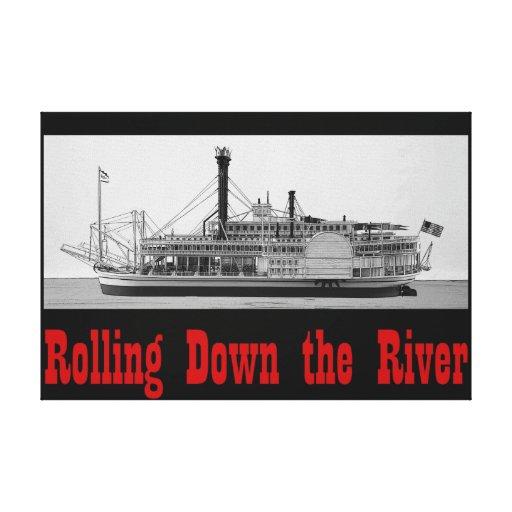 Rodando abajo la lona del río 36 x 24 imprima impresión en lona