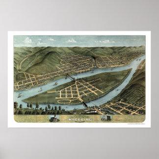 Rodando, mapa panorámico de WV - 1870 Póster