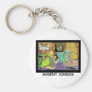 Rodent Condo Assn Funny Cartoon Gifts & Tees Keychain