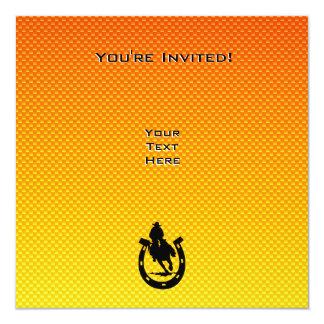 "Rodeo amarillo-naranja invitación 5.25"" x 5.25"""