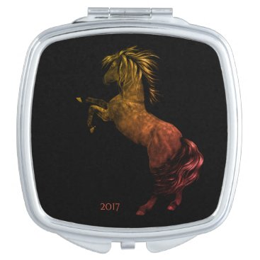 USA Themed Rodeo America USA Horse Compact Mirror w/Date