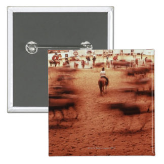 Rodeo arena,blurred motion,Texas, USA 2 Inch Square Button
