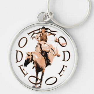 Rodeo Bronc Silver-Colored Round Keychain