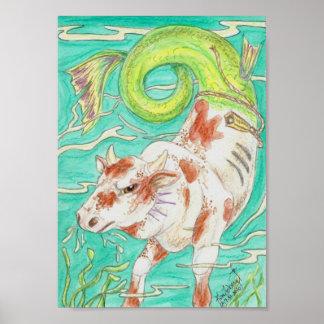 Rodeo Bucking Sea Bull Poster