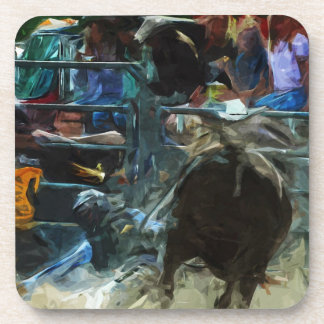 Rodeo Bull Ride Ending Abstract Impressionism Coaster