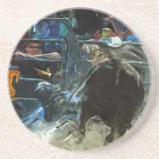Rodeo Bull Ride Ending Abstract Impressionism Drink Coaster