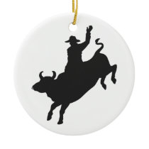 Rodeo Bull Ride silhouette Ceramic Ornament