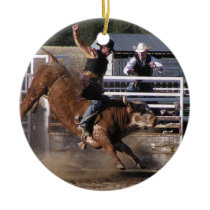 Rodeo Bull Rider Ceramic Ornament