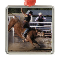 Rodeo Bull Rider Metal Ornament