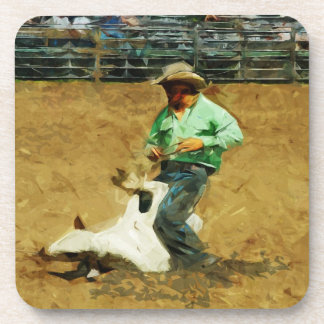 Rodeo Calf Roping Abstract Impressionism Beverage Coaster