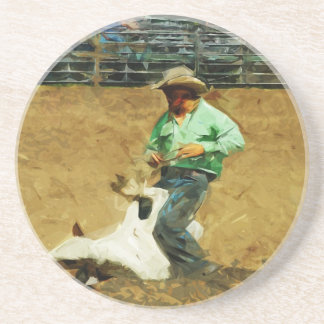 Rodeo Calf Roping Abstract Impressionism Drink Coaster