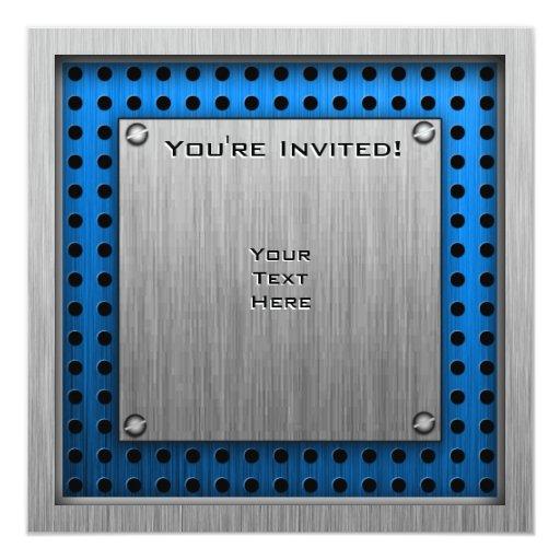 Rodeo cepillado de la Metal-mirada Invitación 13,3 Cm X 13,3cm