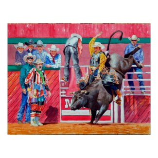 Rodeo Clown and Bull Rider