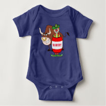 Rodeo Clown In Barrel And Bull Cartoon Personaliz Baby Bodysuit