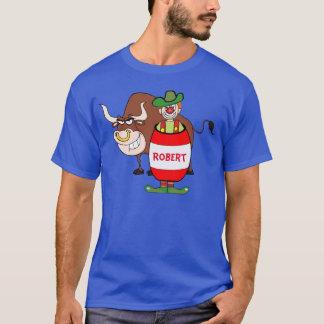 Rodeo Clown In Barrel And Bull Cartoon Personaliz T-Shirt