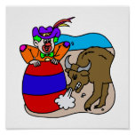 Rodeo Clown in Barrel Poster