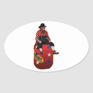 Rodeo Clowns Oval Stickers