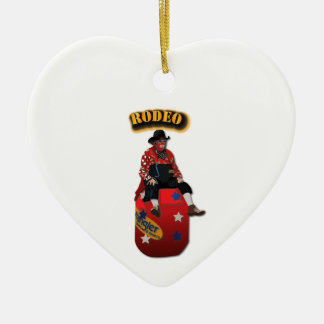 Rodeo Clowns with Text Ceramic Ornament
