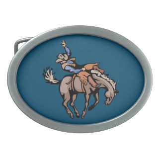 rodeo cowboy and bucking horse belt buckle