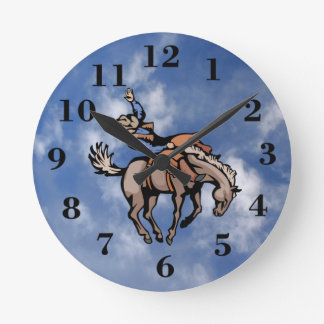 rodeo cowboy and bucking horse clock