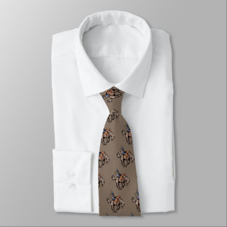 rodeo cowboy and bucking horse neck tie