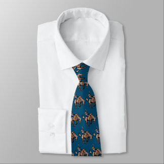 rodeo cowboy and bucking horse tie