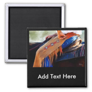 Rodeo Cowboy Art - Stars and Stripes 2 Inch Square Magnet