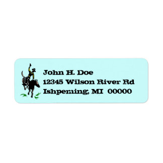 Rodeo Cowboy Bronc Rider Horse Return Addr Labels
