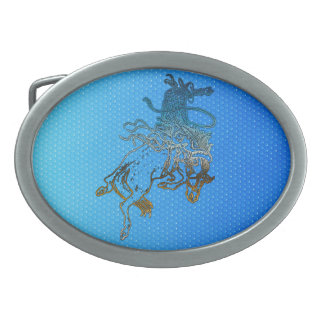 Rodeo Cowboy Bronc-Riding Western Themed Buckle Oval Belt Buckle
