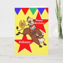 Rodeo Cowboy Bull Rider Birthday Card