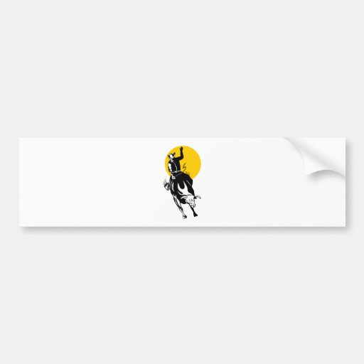 Rodeo cowboy bull riding car bumper sticker