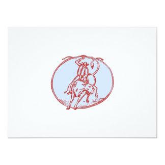 Rodeo Cowboy Bull Riding Circle Etching 6.5x8.75 Paper Invitation Card