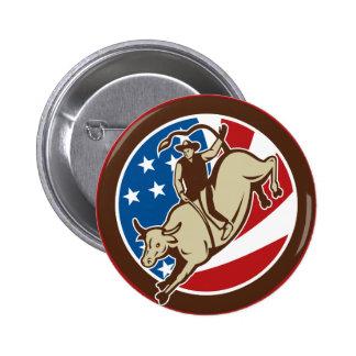 Rodeo Cowboy bull riding Pinback Button