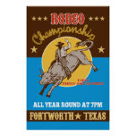 Rodeo Cowboy bull riding poster