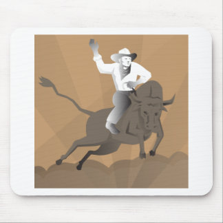 rodeo cowboy bull riding retro mouse pad
