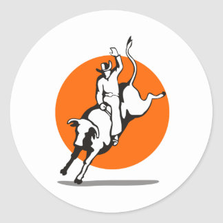 Rodeo cowboy bull riding sticker