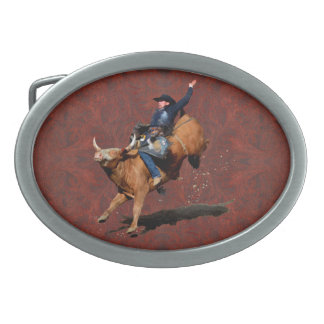 Rodeo Cowboy Bull-Riding Western Themed Buckle Oval Belt Buckles
