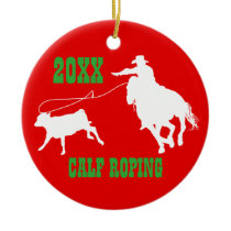 Rodeo Cowboy Calf Roping Christmas Ornament