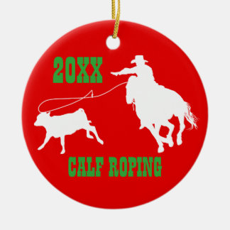 Rodeo Cowboy Calf Roping Christmas Ornament