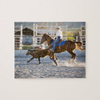 Rodeo cowboy calf roping jigsaw puzzle