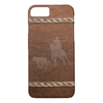 Rodeo Cowboy - Calf Roping, Leather & Rope iPhone 7 Case
