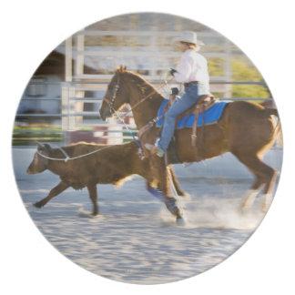 Rodeo cowboy calf roping plate