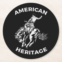 Rodeo Cowboy Horse Riding Black Bronc Riding Round Paper Coaster